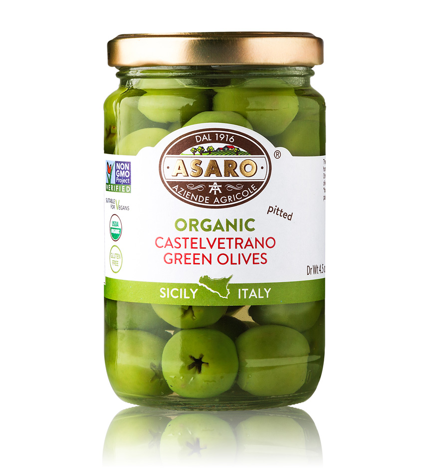 Asaro Farm ORGANIC Green Castelvetrano Pitted Olives