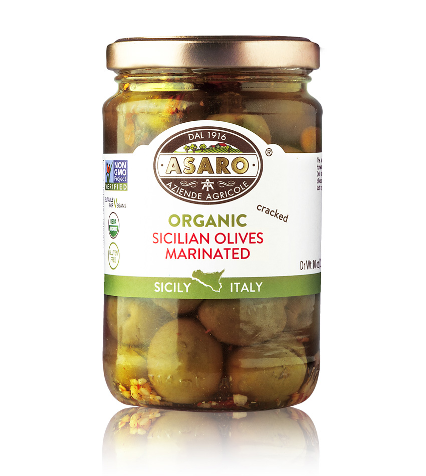 Asaro Farm ORGANIC Cracked Marinated Olives