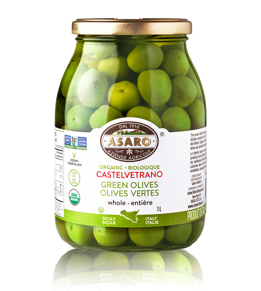 Asaro Farm ORGANIC Green Castelvetrano Whole Olives