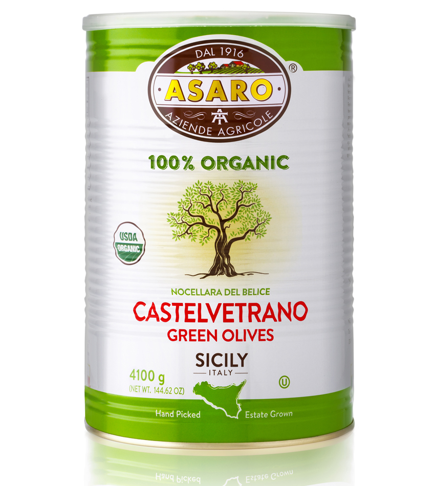 Asaro Farm ORGANIC Castelvetrano Green  Olives Pitted