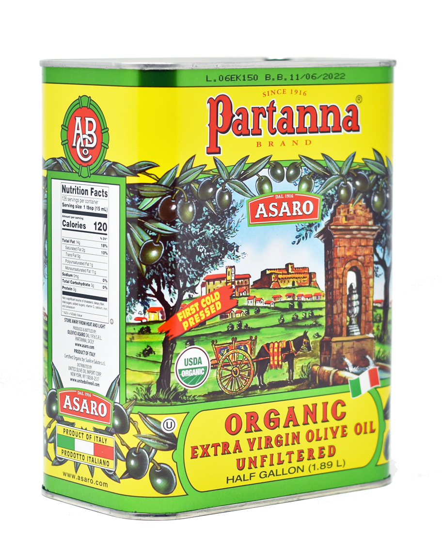 Partanna EVERYDAY USDA ORGANIC UNFILTERED Extra Virgin Olive Oil